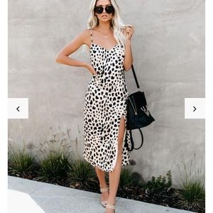 Fast feline leopard midi slip dress